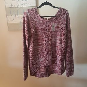 Marled Pointelle zip Sweater